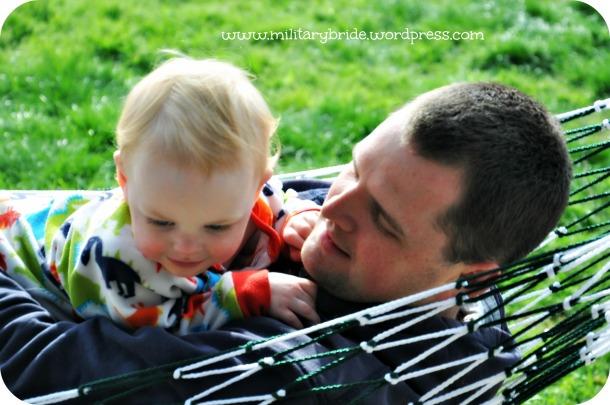 Daddy and Blue Eyes enjoying the sunshine