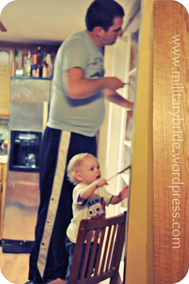 Blue Eyes and Daddy painting the new pantry