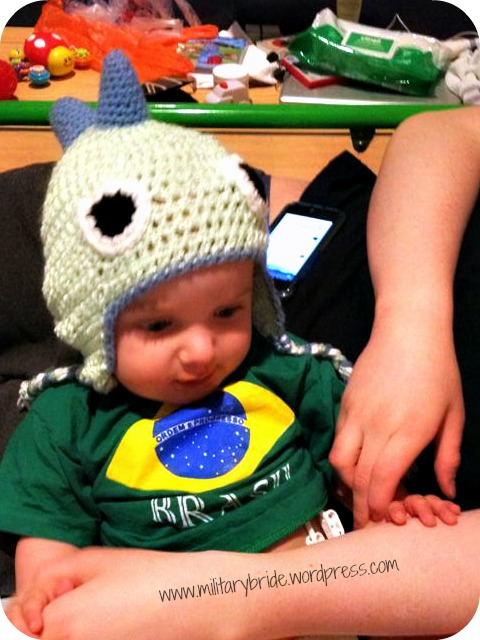 Baby George and the Dino Hat Baby Blue Eyes sent him!