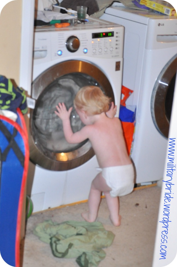The realization that blankie cannot leave the washer