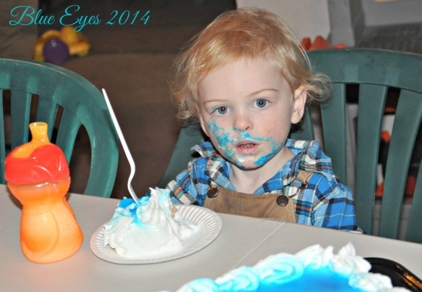 My birthday boy enjoying some cake