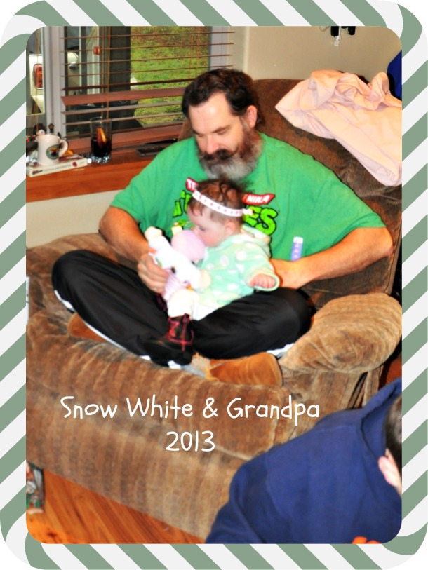 Grandpa and Snow White enjoying christmas