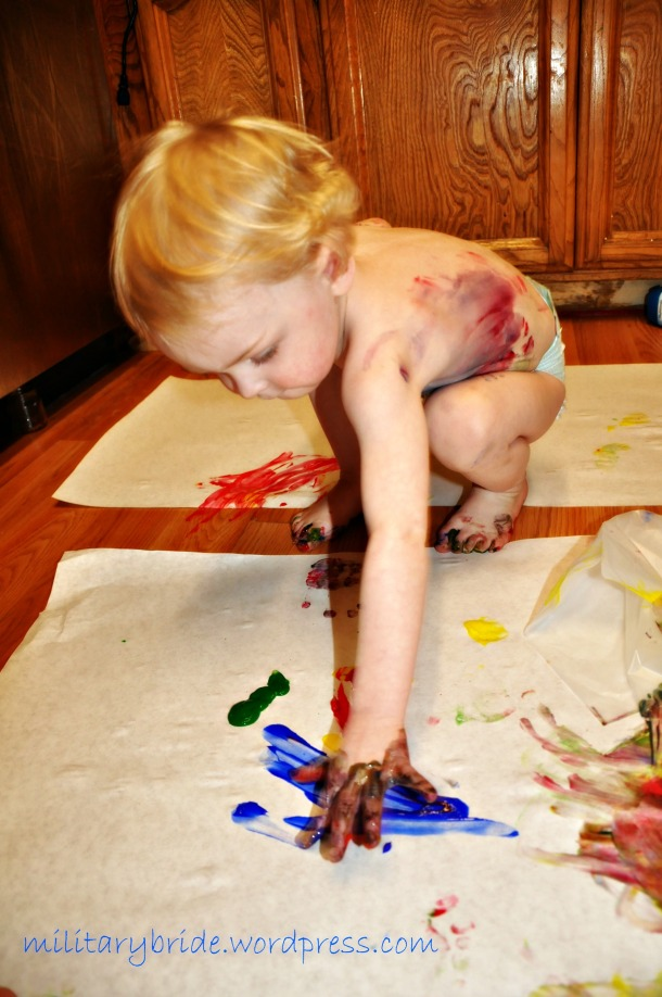 My serious little painter